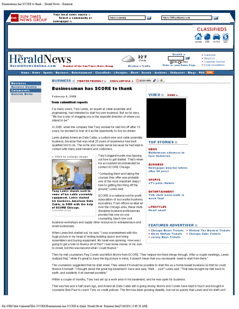 The Herald News features American Data Cable, Inc.